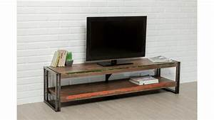 Meuble Tv 160 Cm : meuble tv double plateau teck recycl 160 cm loft ~ Teatrodelosmanantiales.com Idées de Décoration
