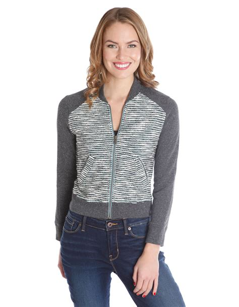 lucky bomber lucky brand sweater bomber jacket in gray lyst