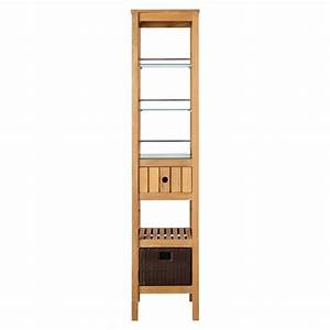 Jolon teak tower with rattan basket bathroom shelves for Wicker stands bathrooms
