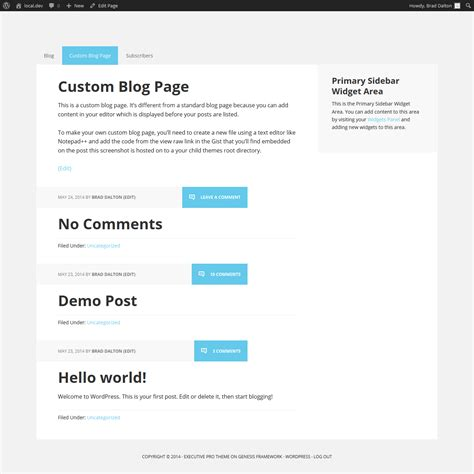 create new page template for blog in genesis adding content before your posts on the blog page only