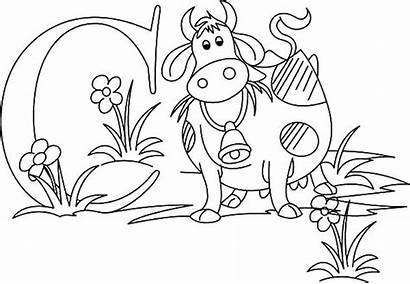 Letter Coloring Pages Block Dairy Cow Printable