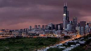 Purple Lights In Chicago Chicago Lights At Night Full Hd Desktop Wallpapers 1080p