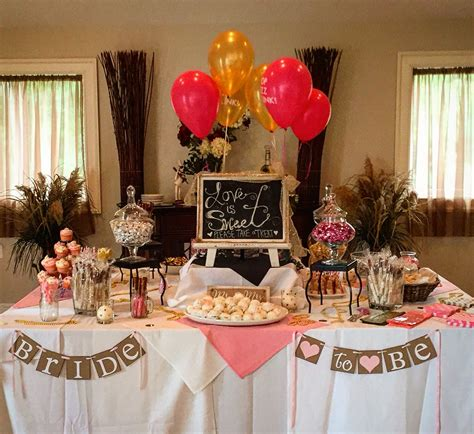 Bridal Shower Ideas - pink and gold bridal shower dessert table brunch and
