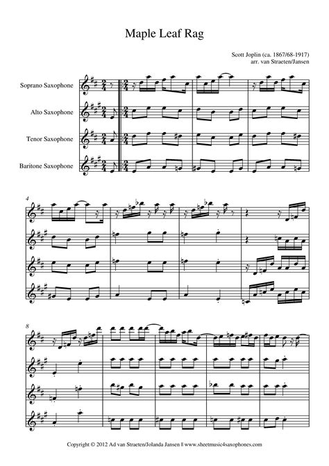 Download the pdf, print it and use our learning tools to master it. Joplin: Maple Leaf Rag for Saxophone Quartet