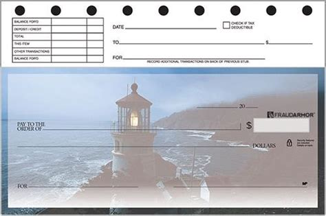 lighthouses top stub personal checks american bank checks