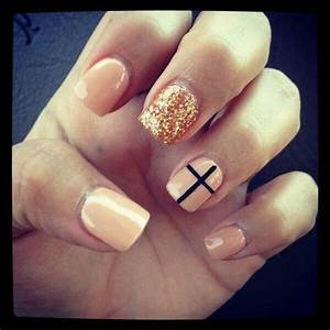 nails, cross, gold glitter, nail art | n a i l s . | Pinterest