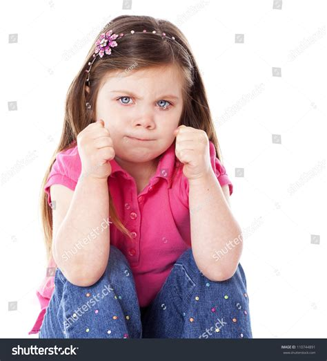 Angry Child Fists Clenched Isolated On Stock Photo