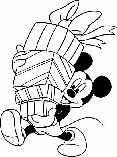 Coloring Christmas Pages Disney Printable Mouse Mickey