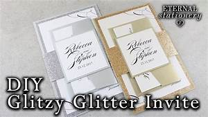 how to make elegant glitter wedding invitations with belly With diy wedding invitations with glitter