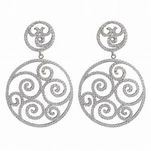 Rhodium Plated Sterling Silver, 30Mm Round Filigree CZ ...