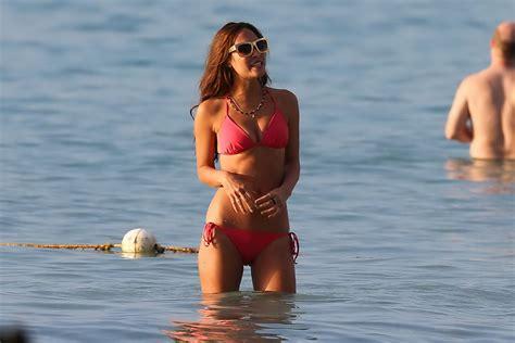 Myleene Klass flaunting her hot body in tiny red bikini at ...
