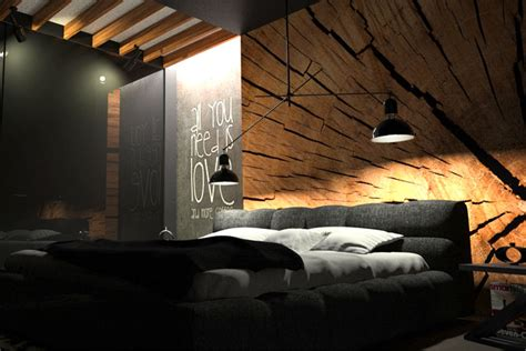 Modern Chic Living Room Ideas - black bedroom with wood wall decor by oes architekci interiorzine