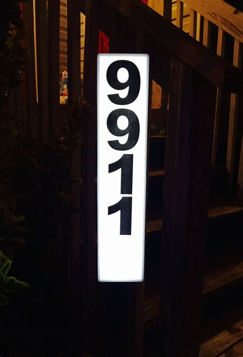 solar lighted address plaque solar powered house number