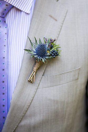 blue thistle boutonniere   floral design thistle