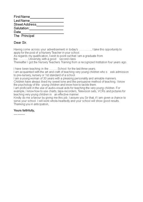The application letter is geared toward a certain job, and it is tailored to the skills and specifications listed in the job posting. Job Application Letter For Nursery Teacher | Templates at ...