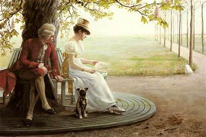 Courtship German Regency Courting Painting Woman Background