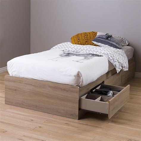 35697 platform bed with storage wood bed frame with 3 storage drawers platform