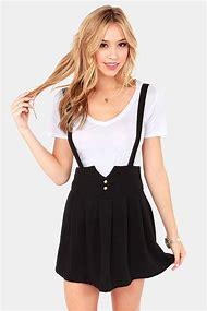 Black Skirt with Suspenders