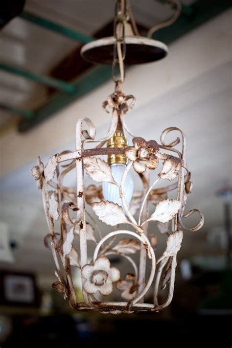 glorious vintage floral painted rod iron shabby chic light