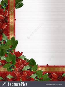 Holidays Christmas Holly Poinsettia Border Stock