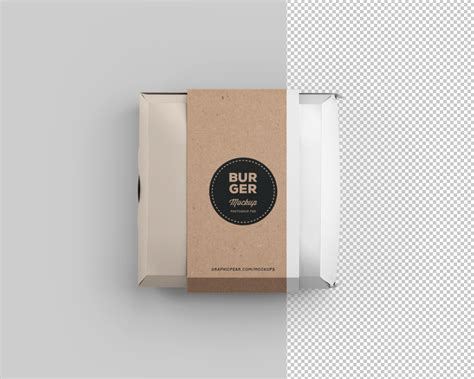 simple burger box package mockup photoshop psd file