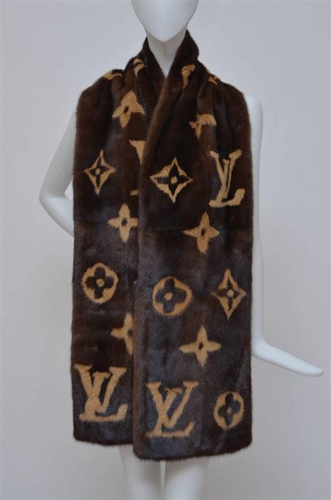 rare louis vuitton mink monogram large scarf nwt  stdibs