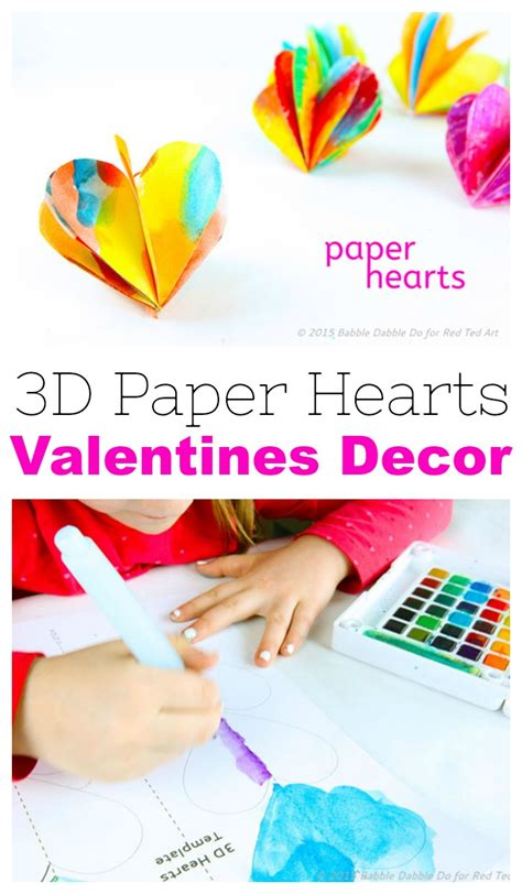 paper heart valentines day craft decoration red
