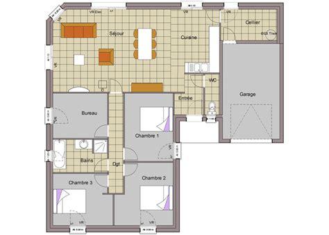 plan maison 3 chambres 1 bureau maison plain pied 7 plan maison maison