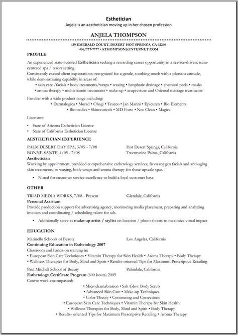 esthetician resume sample httpwwwresumecareerinfo