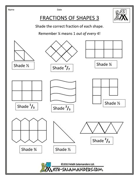 fraction shape worksheets math shapes