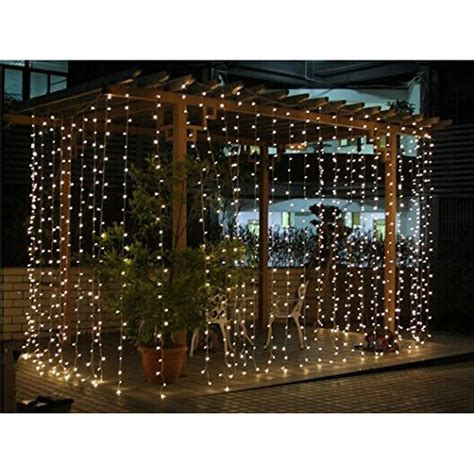 curtain fairy lights battery operated connectable 3x3m rubber cable outdoor curtain lights