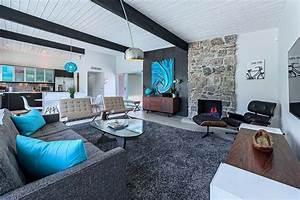 bleu turquoise et gris en 30 idees de peinture et decoration With tapis jaune avec canapé florence knoll occasion