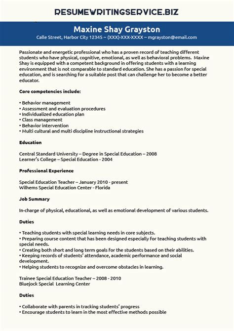 Special Education Resume by Special Education Resume Sle Resume Writing Service
