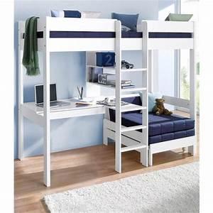 Lit 3 Suisses : lit mezzanine avec plan de travail tag res lit enfant 3 suisses ~ Teatrodelosmanantiales.com Idées de Décoration