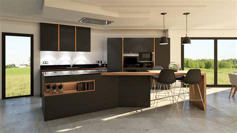 cuisine gris et bois cuisine gris anthracite bois et cuivre avec îlot design