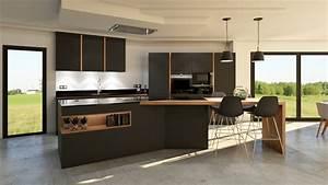 cuisine gris anthracite bois et cuivre avec ilot design With cuisine gris et bois