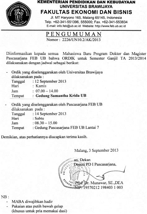 Informasi ORDIK/PK2MABA Program Magister dan Doktor TA