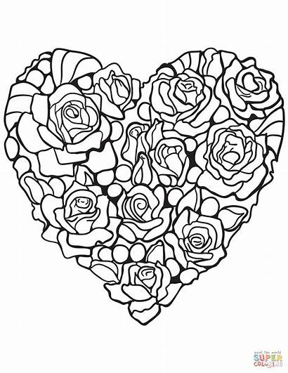 Coloring Rose Heart Pages Printable Hearts Adult