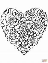 Coloring Rose Heart Pages Printable Hearts Adult Adults Supercoloring Drawing Paper Super Diamond Many Books sketch template
