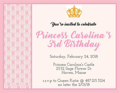 birthday princess poster flyer invite instagram social
