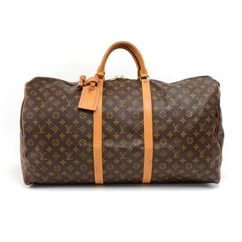 louis vuitton keepall duffle vintage  monogram brown canvas weekendtravel bag tradesy