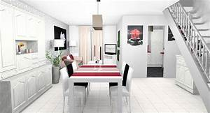 Modernisation et decoration d39une piece de vie et d39une for Deco cuisine avec meuble blanc ceruse salle a manger