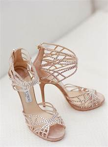 Peach suede Jimmy Choo wedding shoes with crystals ...