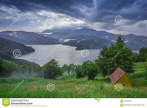 Lake, And, Mountain, Landscape, With, Rain, Clouds, After, The, Storm, Stock, Image
