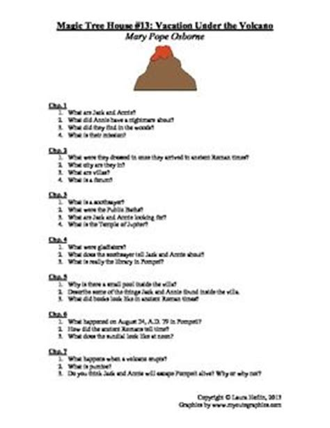 Magic Tree House #13 Vacation Under The Volcano Comprehension Questions  Trees, Magic Tree