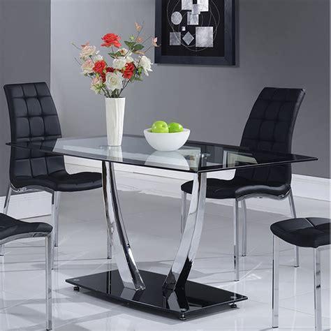 camila dining table chrome legs glass top black base