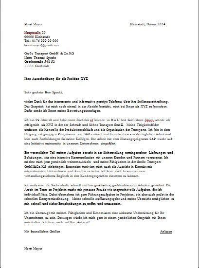 sample german cover letter joblers
