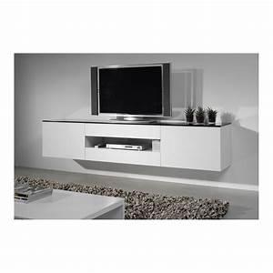 Banc Tv Suspendu : banc tv suspendu meuble tv laqu blanc trendsetter ~ Teatrodelosmanantiales.com Idées de Décoration