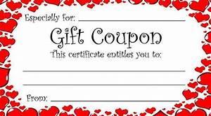 heart theme gift coupon for valentine39s day or any time With coupon making template