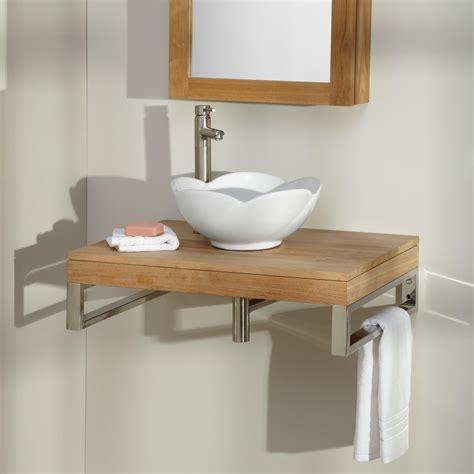 pomoma teak wall mount vessel sink vanity bathroom